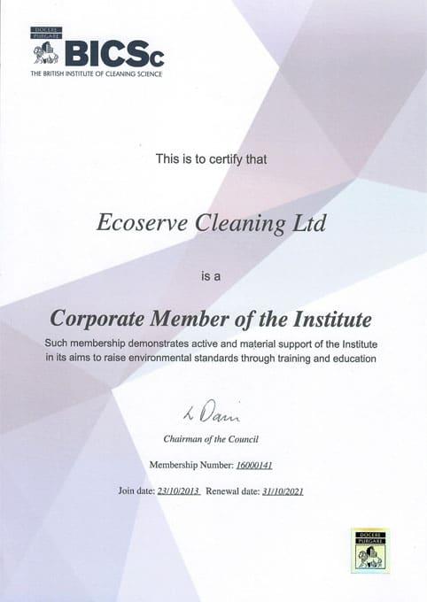 BICSc-certificate