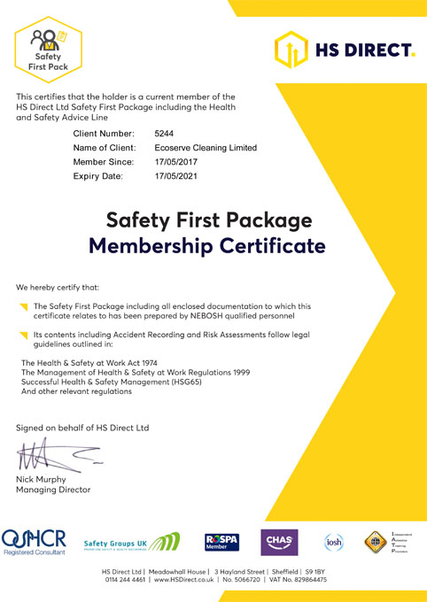 safety first-certificate